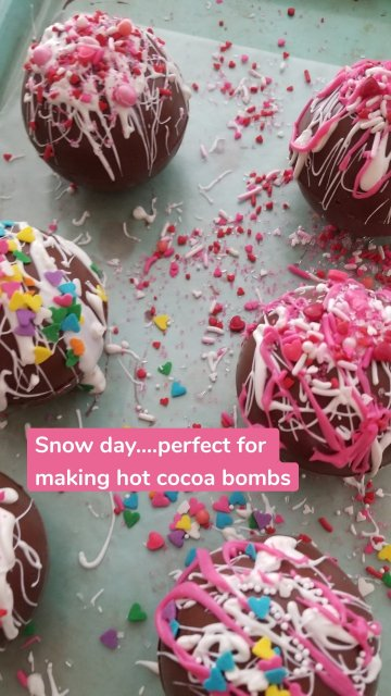 Snow day....perfect for making hot cocoa bombs
